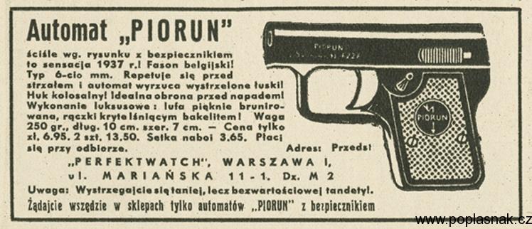 1936 rok, Automat Piorun, straszak hukowyogloszenie prasowe reprodukcja FoKa/FORUM